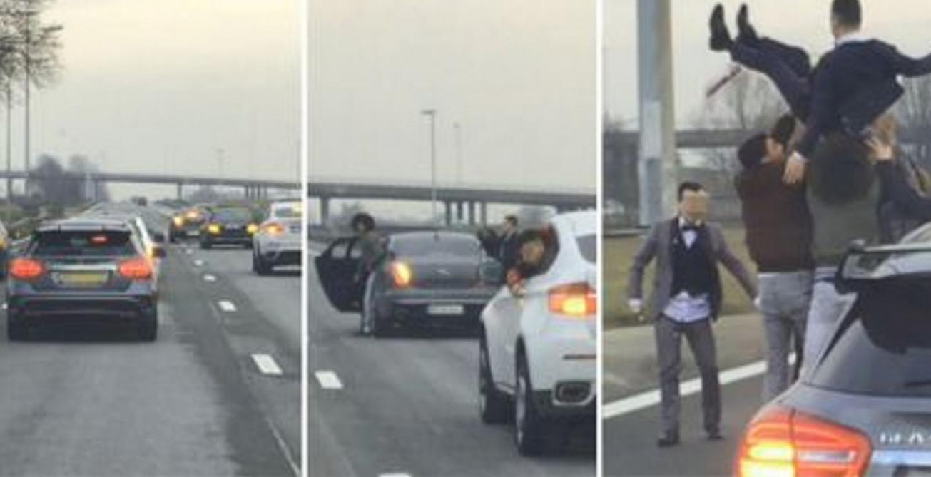Ils bloquent la A12 pour jeter un jeune marié en l'air